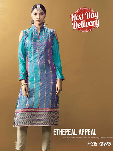 Shimmery Blue Kurti Dress with Inner
