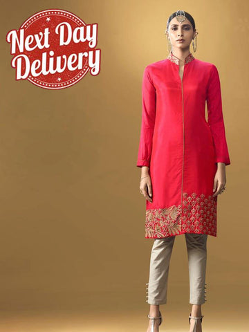 Dark Red Kurti Dress with Inner