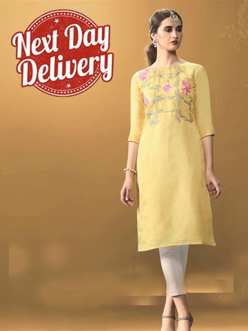 Blonde Yellow Kurti Dress with Inner