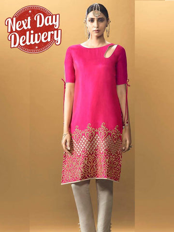 Hot Pink Kurti Dress with Inner
