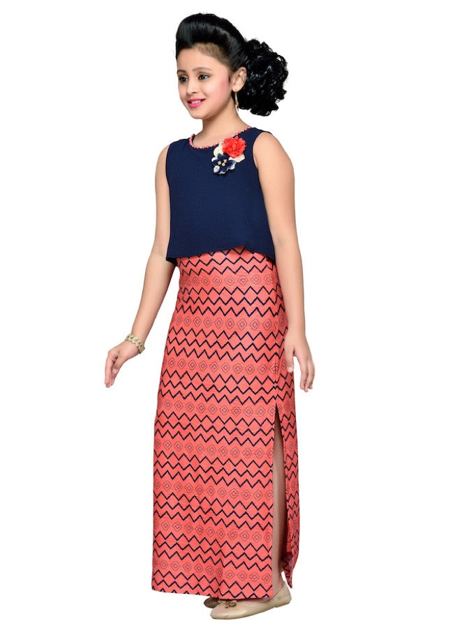 Coral and Navy Blue Dress - PurpleTulsi.com