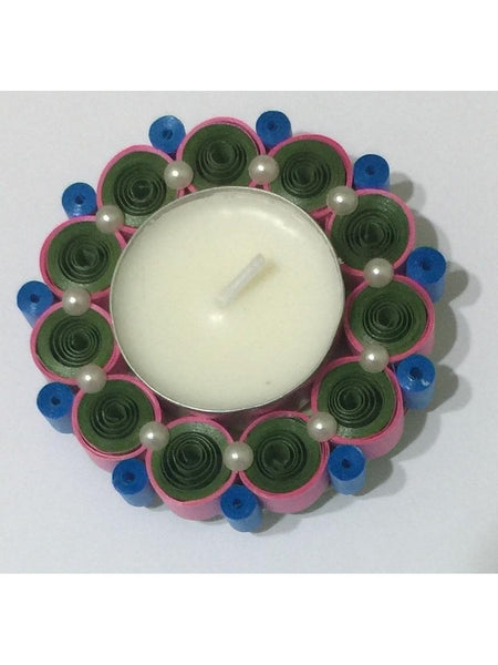 Pleasing Multicolor Quilled Tea Light Holder