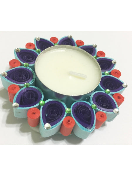 Decorative Multicolor Quilled Tea Light Holder