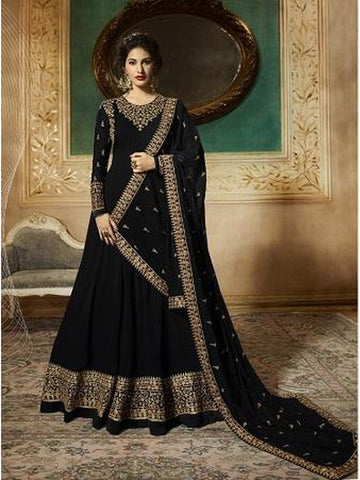 Designer Black Color Faux Georgette With Codding Embroidery And Stone Work Anarkali Suit