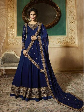 Designer Blue Color Faux Georgette With Codding Embroidery And Stone Work Anarkali Suit