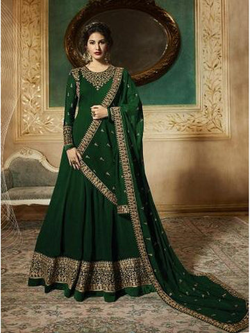 Designer Green Color Faux Georgette With Codding Embroidery And Stone Work Anarkali Suit