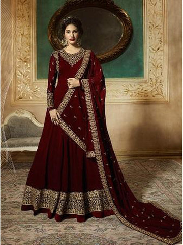Designer Maroon Color Faux Georgette With Codding Embroidery And Stone Work Anarkali Suit
