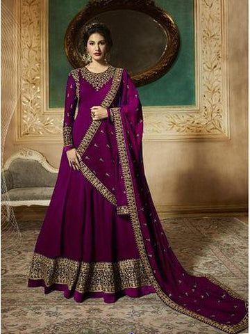 Designer Purple Color Faux Georgette With Codding Embroidery And Stone Work Anarkali Suit