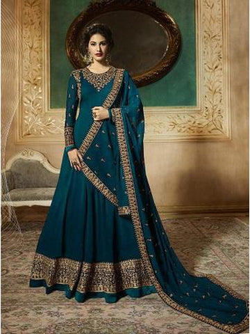 Designer Teal Color Faux Georgette With Codding Embroidery And Stone Work Anarkali Suit