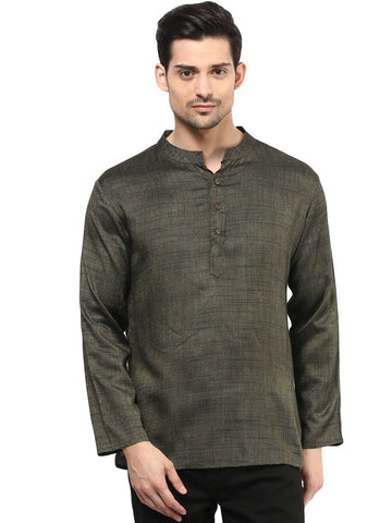 Men's Ethinc Grey Color Short  Kurta