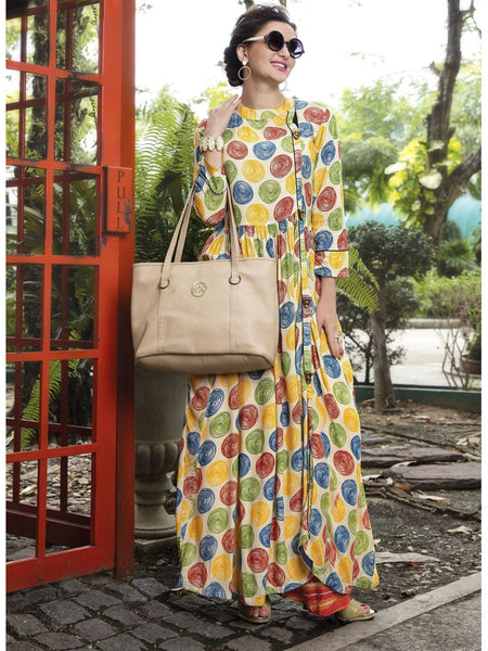 Beautiful Printed Long Rayon Cream Color Kurti