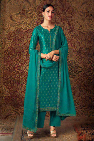 Aqua Blue Pure Jam Silk Embroidered Straight Cut Suit