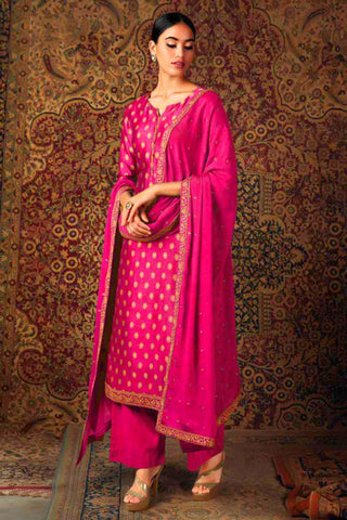 Pink Pure Jam Silk Embroidered Straight Cut Suit