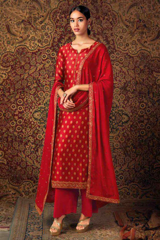 Red Pure Jam Silk Embroidered Straight Cut Suit