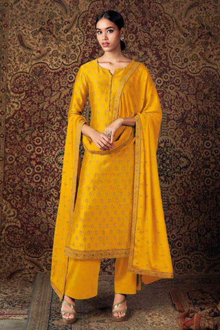 Yellow Pure Jam Silk Embroidered Straight Cut Suit
