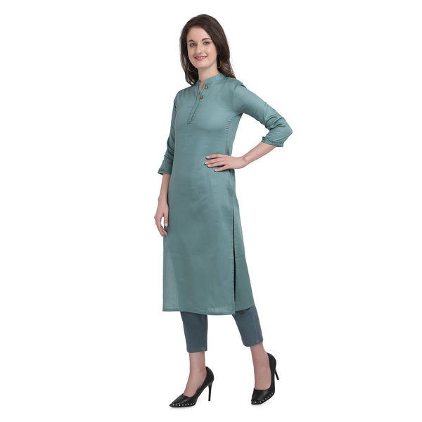 Dark Green Cotton Printed Straight Cut Kurti