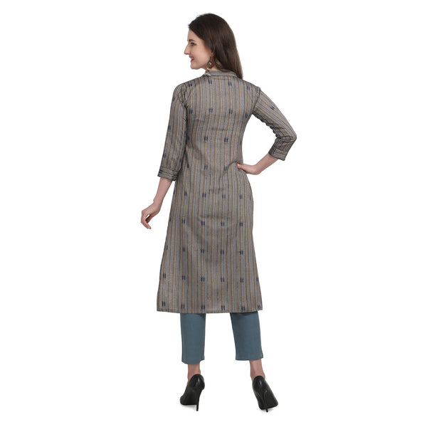 Grey South Cotton Printed Straight Cut Kurti