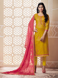 Designer and Beautiful Yellow Color Straight Cut Suit