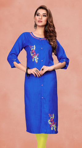 Blue Fluid Cotton Embroidered Straight Cut Kurti