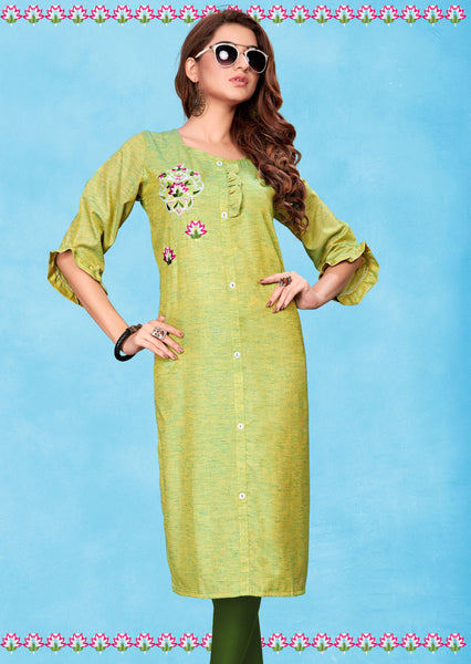 Parrot Green Fluid Cotton Embroidered Straight Cut Kurti