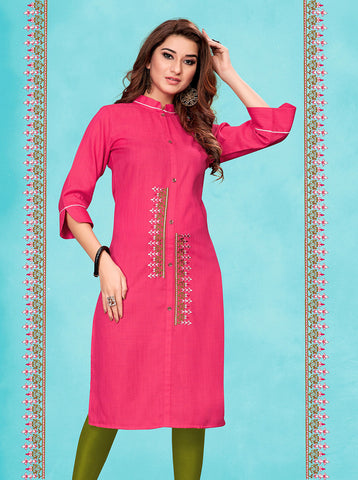 Pink Fluid Cotton Embroidered Straight Cut Kurti