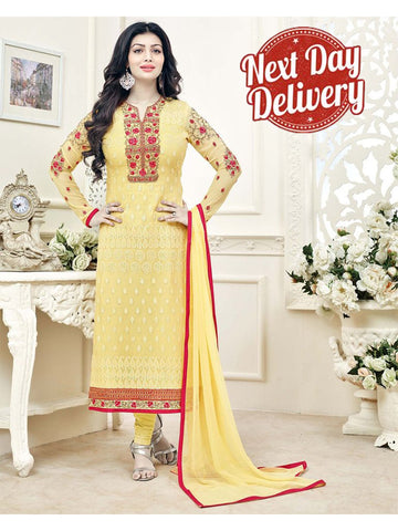 2XL Alluring Yellow Resham Embroidered stitched Suit