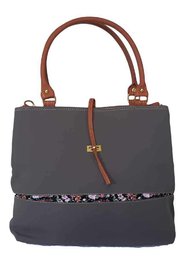 Grey soft bag in velvet and artificial leather - PurpleTulsi.com  - 1
