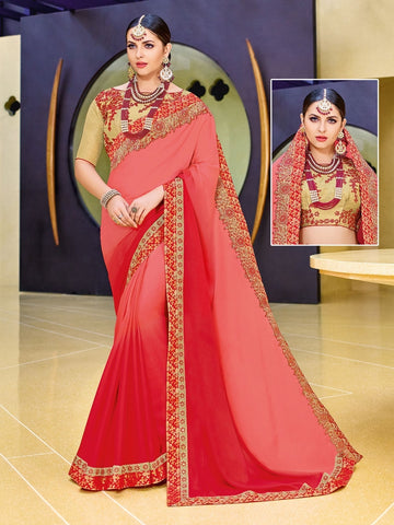 Indian Women orange and red color moss chiffon Saree
