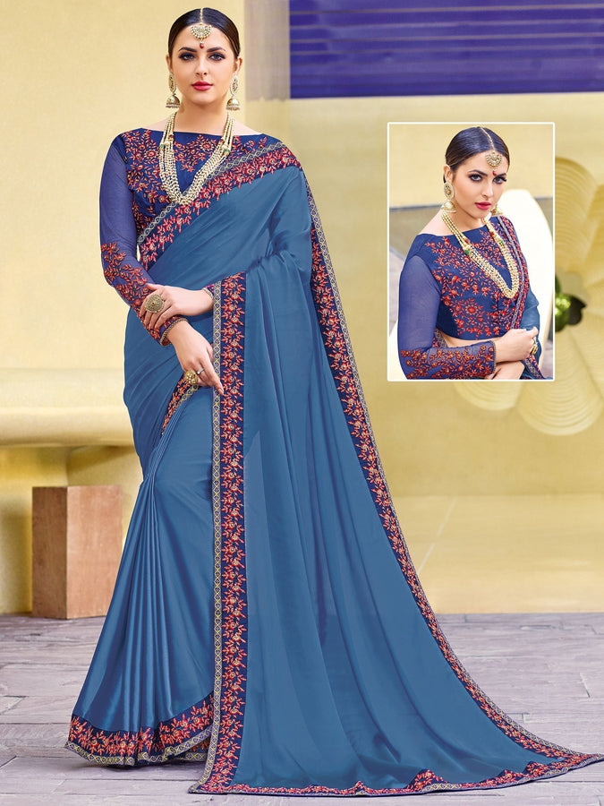 Indian Women violet color two tone moss chiffon saree