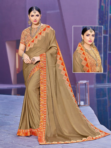 Indian Women brown color two tone chinnon pattern Saree