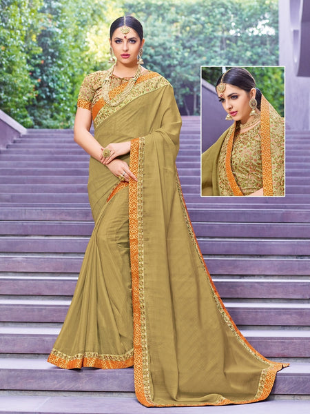 Indian Women beige color chinnon pattern saree