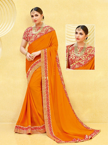 Indian Women orange color satin georgette Saree