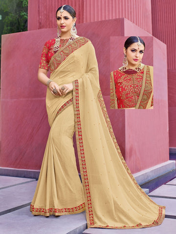 Indian Women cream color marble chiffon saree