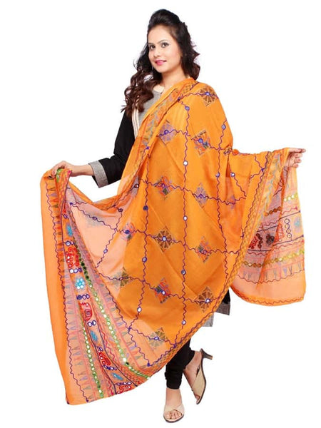 Traditional Orange Cotton Dupatta - PurpleTulsi.com