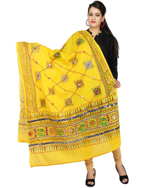 Traditional Yellow Cotton Dupatta - PurpleTulsi.com