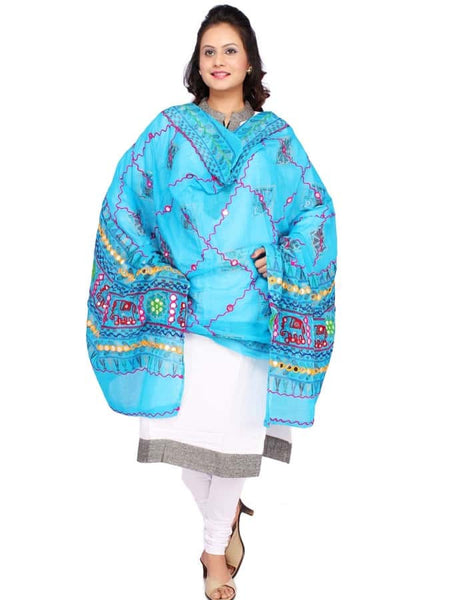 Traditional Sky Blue Cotton Dupatta - PurpleTulsi.com