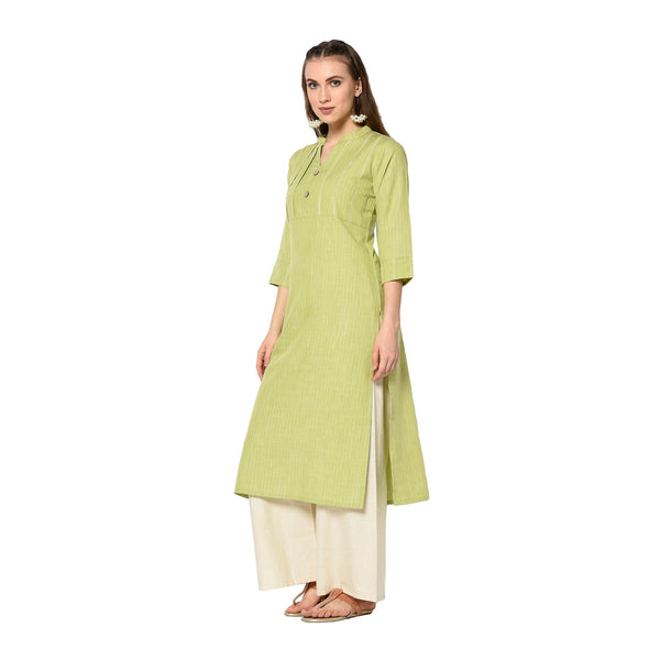 Parrot Green Cotton Printed Straight Cut Kurti