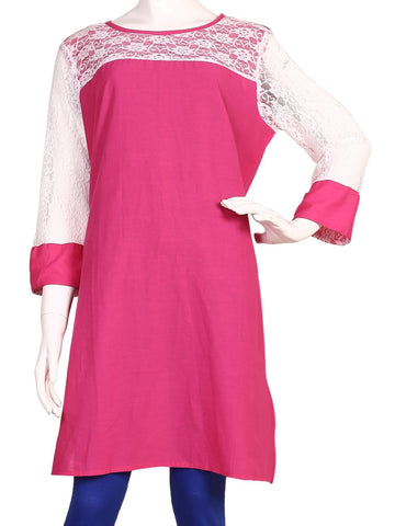 Solid Pink Color Cotton Kurti