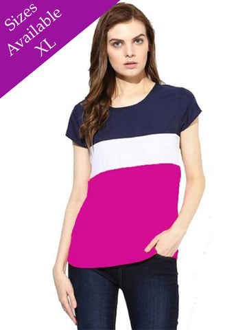 Trendy Color Block Tunic Top