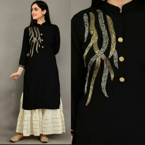 Black Color Rayon khatli work Straight Cut Kurti with Palazzo