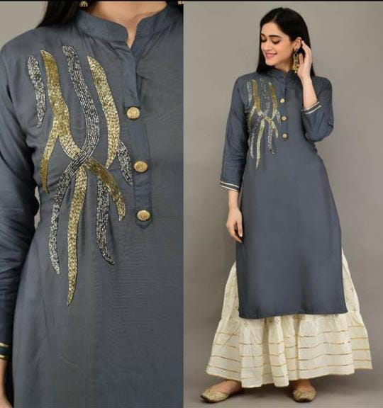 Gray Color Rayon khatli work Straight Cut Kurti with Palazzo