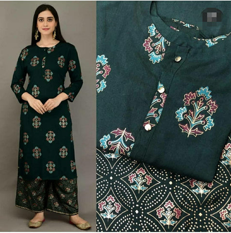 Green Color Rayon Printed Straight Cut Kurti with palazzo