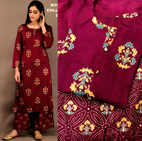Maroon Color Rayon Printed Straight Cut Kurti with palazzo