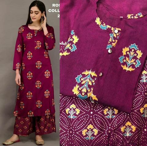Purple Color Rayon Printed Straight Cut Kurti with palazzo