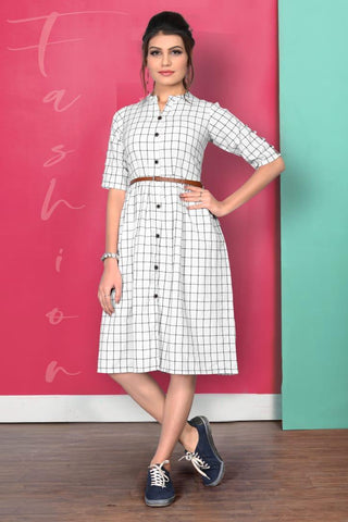 White Color Pure South Chex Cotton Dress With Belt