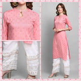 Pink Color Rayon Printed Straight Cut Kurti with Palazzo