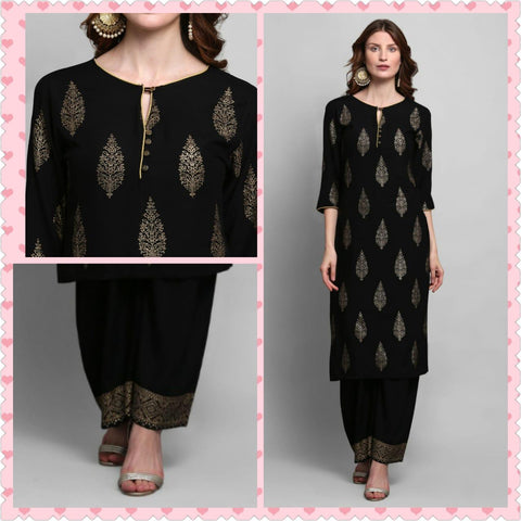 Black Color Rayon Printed Straight Cut Kurti with Palazzo