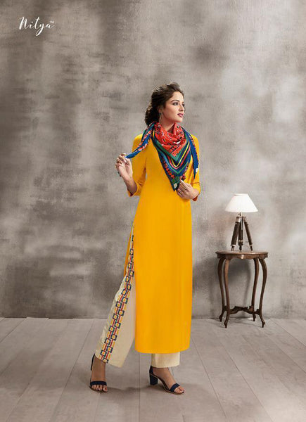 Yellow Color Rayon Straight Cut Suit