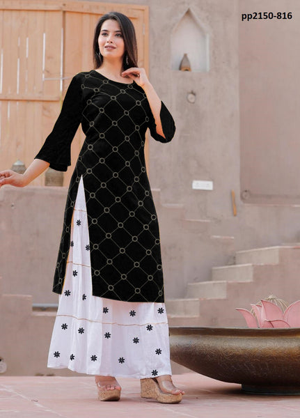 Heavy Rayon Black Color Straight Cut Kurti with Skirt