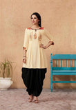 Cream Color Rayon Embroidered Kurti with Patiala